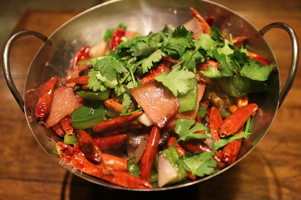Gemüsepfanne Fleisch Paprika Chilli
